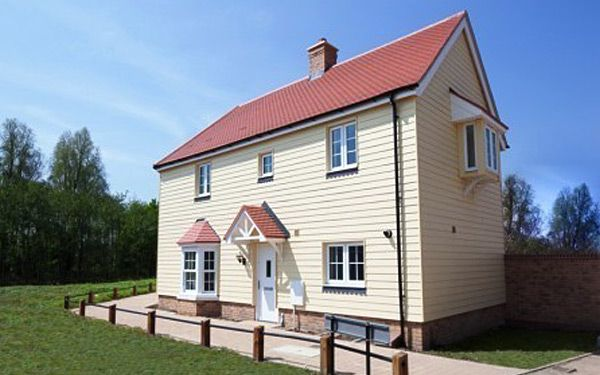 Cream cladding installation to home
